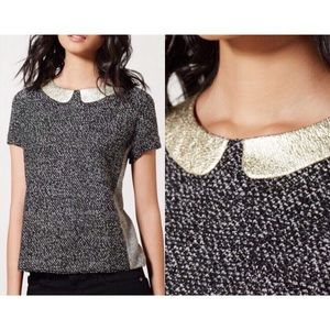 Anthropologie Sz S Postmark Metallic Collar Top